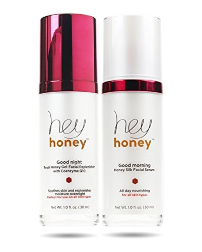 Hey Honey Skin Care Day and Night Duet Good Morning Honey Silk Facial Serum Makeup Primer And Good Night Royal Honey Gel Coenzyme Q10 Moisturize And Brighten For Flawless - Skin Good Serum Morning