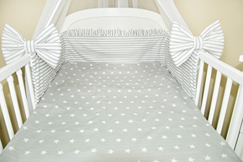 Amilian® 5 Piece Baby Bed Linen Set With Cot Bumper, Bed Sheet Pillowcase  And Chiffon Canopy, Plus Bow Stars Print Grey: Amazon.co.uk: Baby