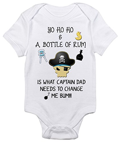 (Yo Ho Ho and a Bottle of Rum Baby Bodysuit Cute Baby Clothes for Boys and Girls (3-6 Months, White))