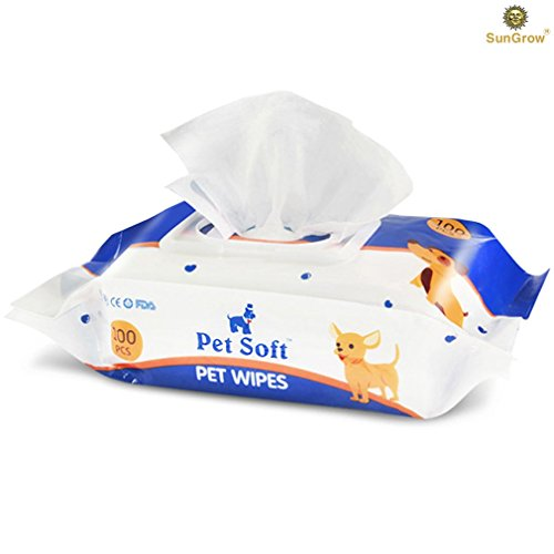 SunGrow Pet Deodorizing Bath Wipes - Fresh Apple Scented Deodorizing Pet Wipes - Leaves Coat Shiny - Mild, Gentle, Recommended for Everyday Use - Convenient and Economical Pet Grooming Solution from SunGrow