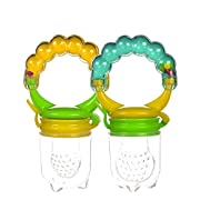 Baby Fresh Food Feeder with Rattle (Pack of 2). Teething Toys for Infants by Boxiki Kids