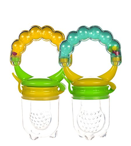 Baby Fresh Food Feeder With Rattle, Silicone, 2 PCS. Teething Toy, Nibbler Pacifier For Safe Infant Feeding by Boxiki Kids. BPA Free, Fully Tested and Certified for the USA from Boxiki kids