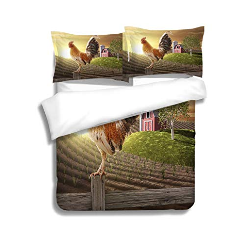 - MTSJTliangwan Duvet Cover Set Rooster Perched Upon a Farm Fence Post 3 Piece Bedding Set with Pillow Shams, Queen/Full, Dark Orange White Teal Coral
