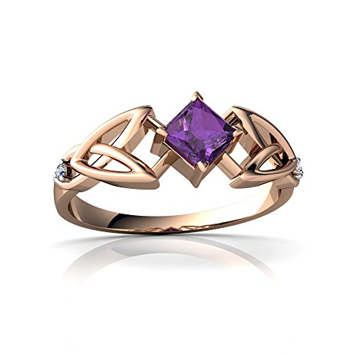 14kt Gold Amethyst and Diamond 4mm Square Celtic Trinity Knot Ring