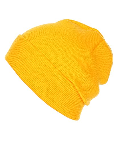 RufnTop Thick Plain Knit Beanie Slouchy Cuff Toboggan Daily Hat Soft Unisex Solid Skull Cap(Yellow One Size)