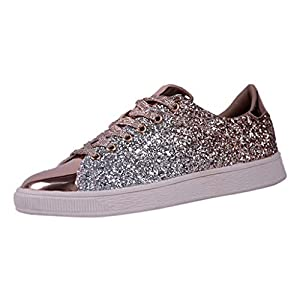 MTENG Women's Fashion Sequins Solid Color Sneakers Nightclub Trend Wild Casual Shoes(36-41)