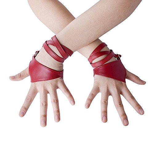 (JISEN Women Half Palm Fingerless PU Leather Night Bar Band Up Punk Gloves Red)