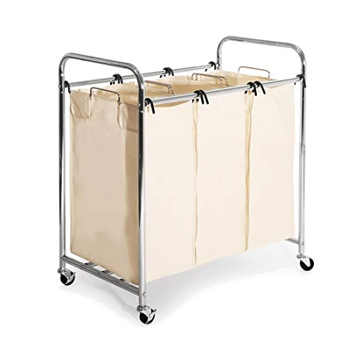 Seville Classics Mobile 3-Bag Heavy-Duty Laundry Hamper Sorter Cart (Organizer Metal Frame Chrome Mobile)