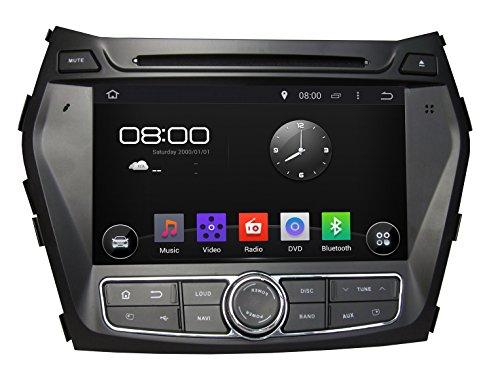 KUNFINE Android 6.0 Otca Core Car DVD GPS Navigation Multimedia Player Car Stereo For Hyundai IX45 Santa Fe 2013-2014 Steering Wheel Control 3G Wifi Bluetooth Free Map Update 8 Inch ()
