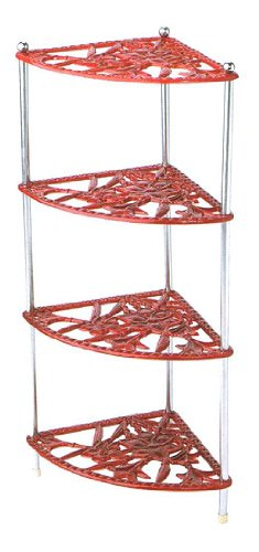 Cast Iron Kitchen Corner Pan Stand Saucepan Holder   Red