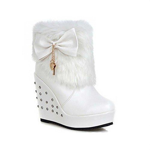 Carolbar Womens Sweet Lolita Bows Faux Fur Christmas Cosplay Wedges Snow Boots White ACZAwF97Q