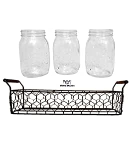 Vintage Styled Mason Jars Set - Decorative Metal Rack - Bonus Iced Tea and Lemonade Recipes - Serve Drinks or Use as Decorative Centerpieces- Gift Boxed Set of 3