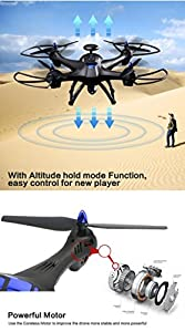 ASTV RC Headless Quadcopter Drone with HD Wifi Camera Live Feed 2.4G 4CH 6-Axis Gyro GPS Brushless Quadcopter (black) by ASTV