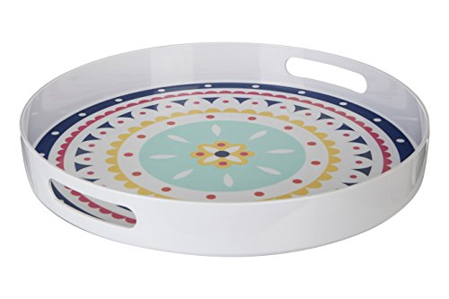 Premier Housewares Mimo Bazaar Tray with Handles, Melamine, Multi-Colour, 38 x 38 x 5 cm (With Trays Melamine Handles)
