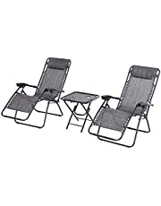 Outsunny 3pcs Zero Gravity Lounger Chair Set Patio Chaise Lounge Side Table Set w/Cup Holder Dark Grey