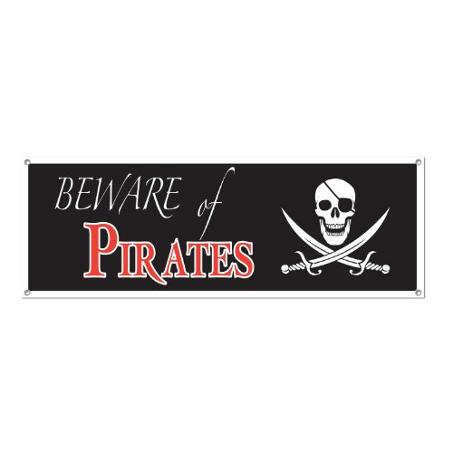 Beware Of Pirates Sign Banner Party Accessory (1 count) (1/Pkg)