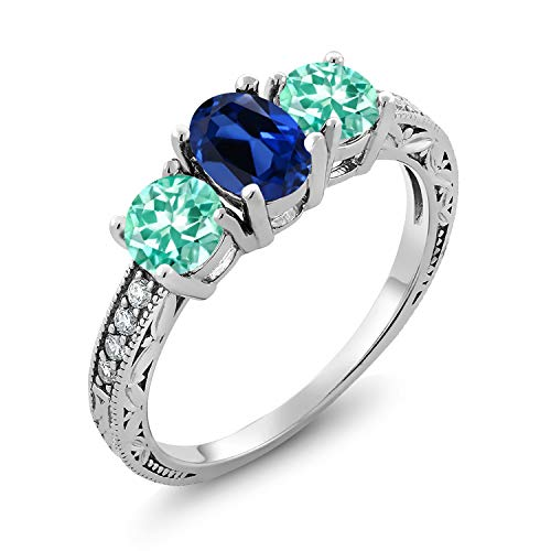 Gem Stone King 2.11 Ct Oval Blue Simulated Sapphire Blue Apatite 925 Sterling Silver Ring (Size 5)