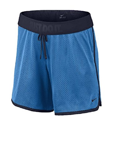Womens Nike Drill Mesh Shorts Light Photo Blue/Obsidian Size L