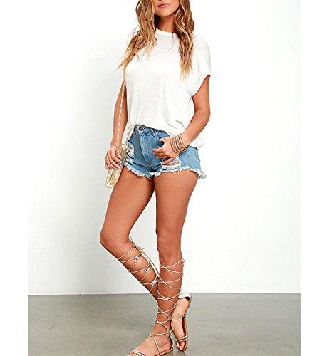 Fashion de Mousseline Tee Fit T O Soie Mesdames en Top Blanc Dcollet Shirts Chemise Lache Blouses Dcontracte Backless Iqwxg7