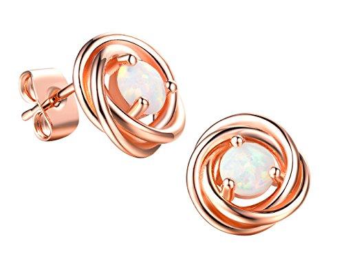 Forever Love Knot Opal Earrings- 18K Rose Gold plated Stud Earring for Women Girls by RoseJeopal