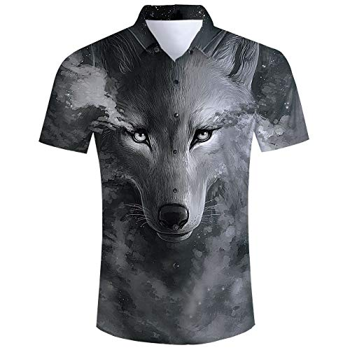 Fanient Mens Hawaiian Shirt 3D Wolf Print Aloha Shirts Casual Button Down Short Sleeve Shirts