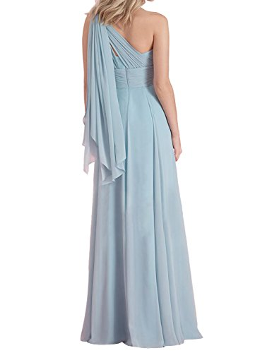 Asbridal Robes De Demoiselle D'honneur En Mousseline De Soie Longue Slim Fit Jaune Mariage Robe De Bal De L'épaule