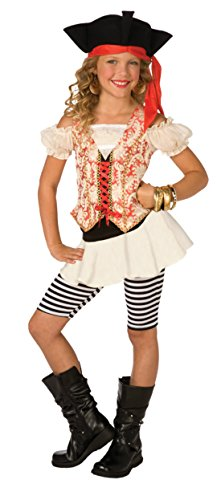 [Girls Swashbuckler Pirate Kids Child Fancy Dress Party Halloween Costume, M (8-10)] (Pirate Clothing And Accessories)