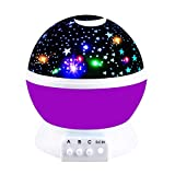 2-10 Year Old Girls Gifts, Ouwen Star Rotating Night Light for Kids Christmas Best Top Fun Gifts for Girls Age 2-8 Toys Girls Age 3-12 Purple OWUSNL02