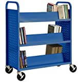 Sandusky Lee SV336-06 Double Sided Sloped Shelf Welded Book Truck, 19'' Length, 39'' Width, 46'' Height, 6 Shelves, Ocean