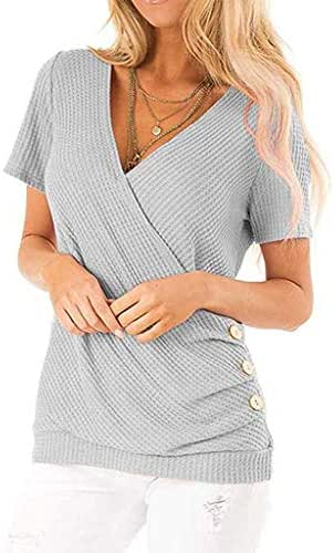 Lotus.Flower Women V Neck Solid Short Sleeve Knit Casual Button Tunic Tops Blouse
