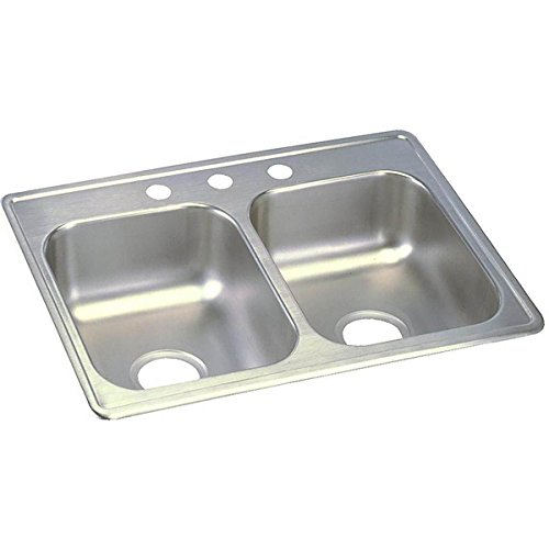 Dayton D225193 Equal Double Bowl Top Mount Stainless Steel Sink by Elkay