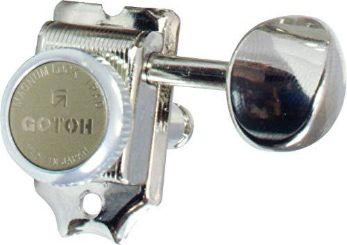 (Tuner - Gotoh, Magnum Lock Trad, Finger Lock, 6-in-line, Color: Nickel)