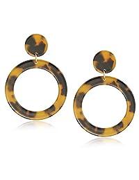 WAINIS Acrylic Earrings Statement Tortoise Hoop Earrings Resin Wire Drop Dangle Earrings Fashion Jewelry for Women