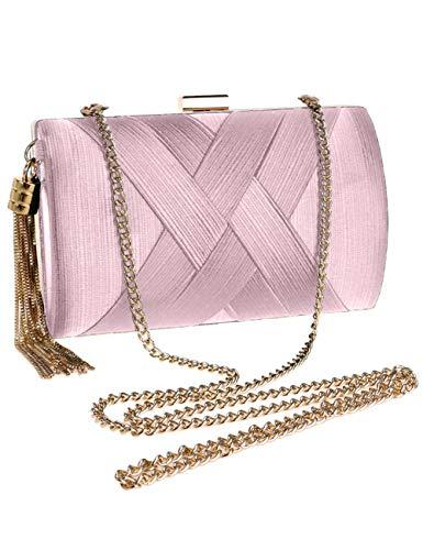 Elegant Metal with Satin for Long Bag Wedding Clutch Pink Bag Women's Party Strap Crossbody Handbags Evening Bag Gold nwOXqzS0F