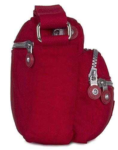 Multi Small Messenger Pockets Bag 2 Zip Lightweight Rainproof Shoulder Crossbody Design Fabric Shop Handbag Big Maroon Size 8nq71X07