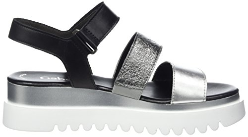 Schw Women's Silber Sandals Stone Jollys Gabor Black Silber 61 Stone Grey Schw Ankle Strap aqv6Znvzw