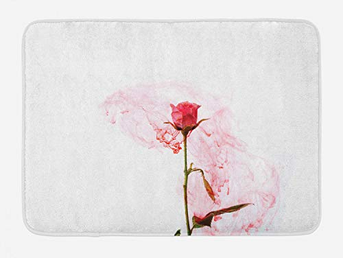 - Ambesonne Floral Bath Mat, Delicate Artistic Rose Love Depiction Romantic Symbol Smoky Art, Plush Bathroom Decor Mat with Non Slip Backing, 29.5 W X 17.5 L Inches, Dark Coral Rose and Olive Green