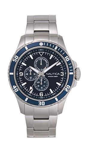 Nautica Men's NAPFRB018 Freeboard Multifunction Silver/Navy Stainless Steel Bracelet Watch