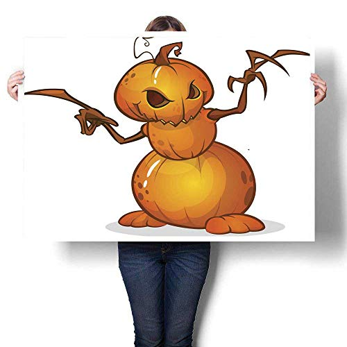 Anyangeight Landscape Canvas Halloween Cartoon Scarecrow with Pumpkin Head Vector Cartoon Decorative Fine Art Canvas Print Poster K 20