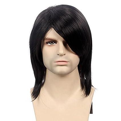 Peluca negra larga recta del hombre del pelo Peluca sintética resistente al calor Europa y los