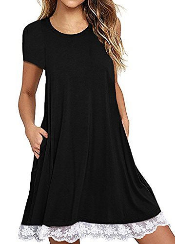 Ecolley Womens Loose Short Sleeve T Shirt Tunic Dress with Pockets for Summer Casual Round Neck