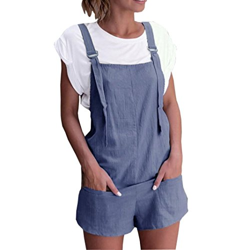 Womens Rompers,Elastic Waist Dungarees Linen Cotton Pockets Playsuit Shorts Pants by-NEWONESUN Blue