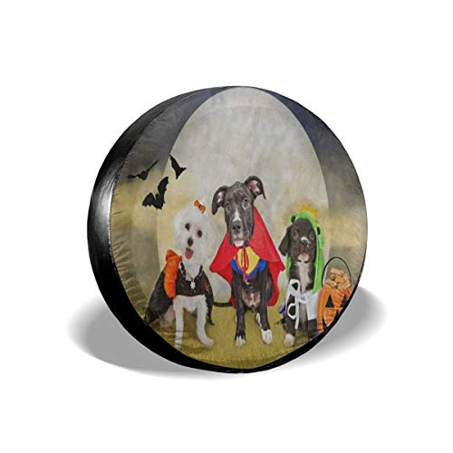 YIXKC Spare Tire Cover Hipster Puppy Dog Dressed in Halloween Costumes 15 Inch Waterproof Universal Spare Wheel Tire Cover Fit for Jeep, Trailer, RV, SUV and Many Vehicle