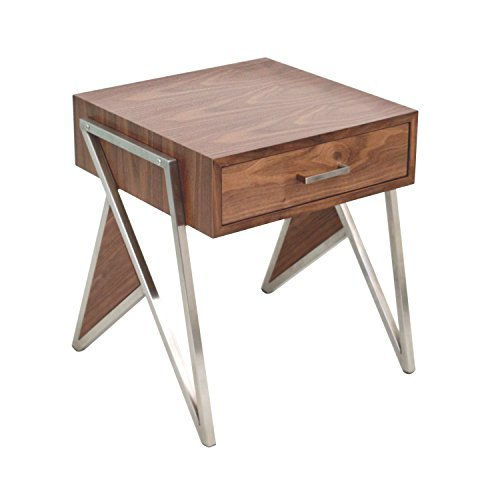 WOYBR TBE WL+SS Wood, Stainless Steel Tetra End Table/Night Stand