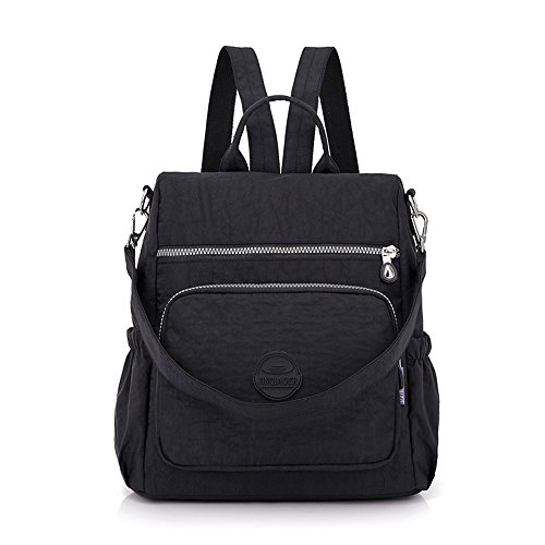 GuiShi(TM) Mini Nylon Cute Backpacks Purse Casual Lightweight Multipurpose Small Daypack Travel Shoulder Bag for Women Girls (Black)