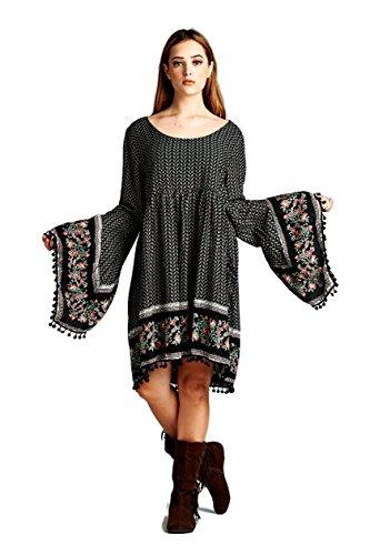 Velzera Paisley Print Print Dress with Bell Sleeves Boho Chic Plus Size (1X, Black) by Velzera
