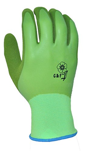 G & F 1537M-6 Aqua Gardening Women's Gloves with Double Microfoam Latex Water Resistant Palm, Medium,6 pair - Gardening Waterproof Gloves