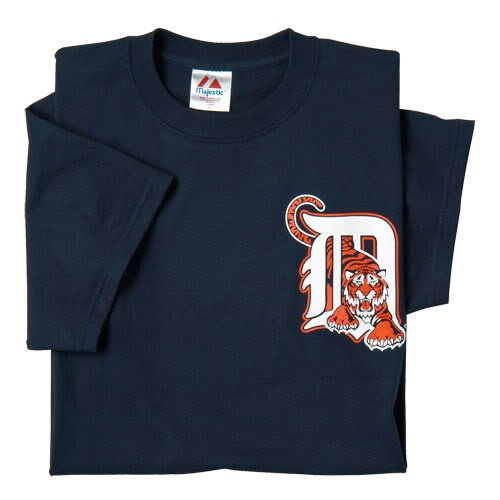 Detroit Tigers (ADULT SMALL) 100% Cotton Crewneck MLB Officially Licensed Majestic Major League Baseball Replica T-Shirt Jersey