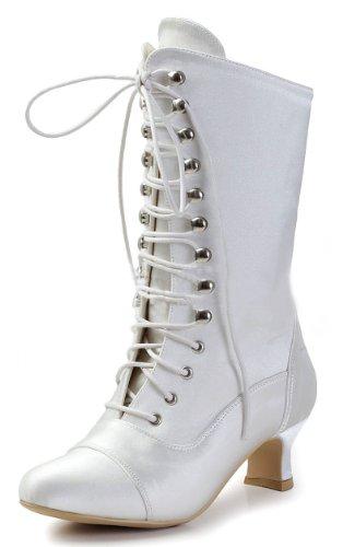 Kitten Satin Up Low Bridal Lace Women's Heel Honeystore Boots xIwpqUHTU