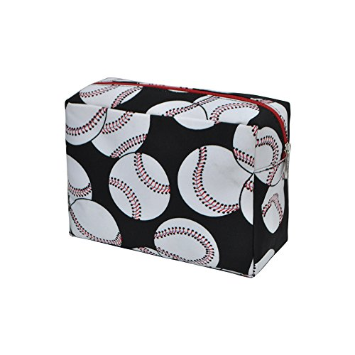 Baseball Print NGIL Large Cosmetic Travel Pouch- Red